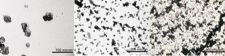碳酸钠超声湿磨的显微镜图像
